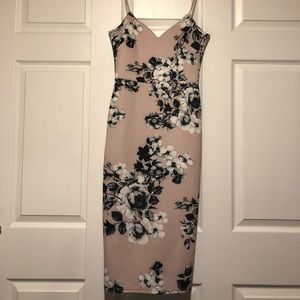 ASOS pink floral fitted dress